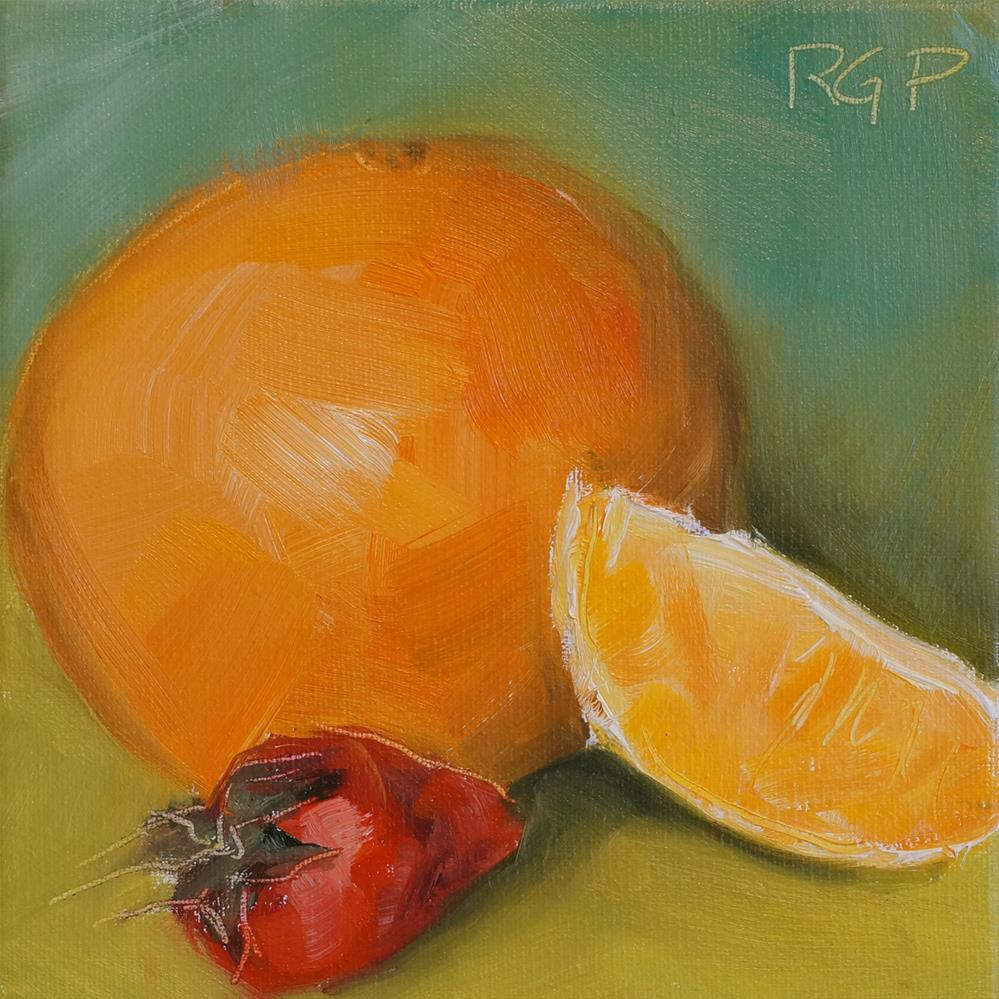 """Breakfast Orange and Strawberry"" original fine art by Rhea  Groepper Pettit"