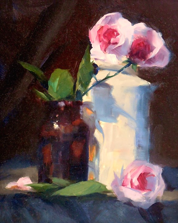 """Pretty in Pink, 8x10 Oil on Canvas Still Life with Roses"" original fine art by Carmen Beecher"