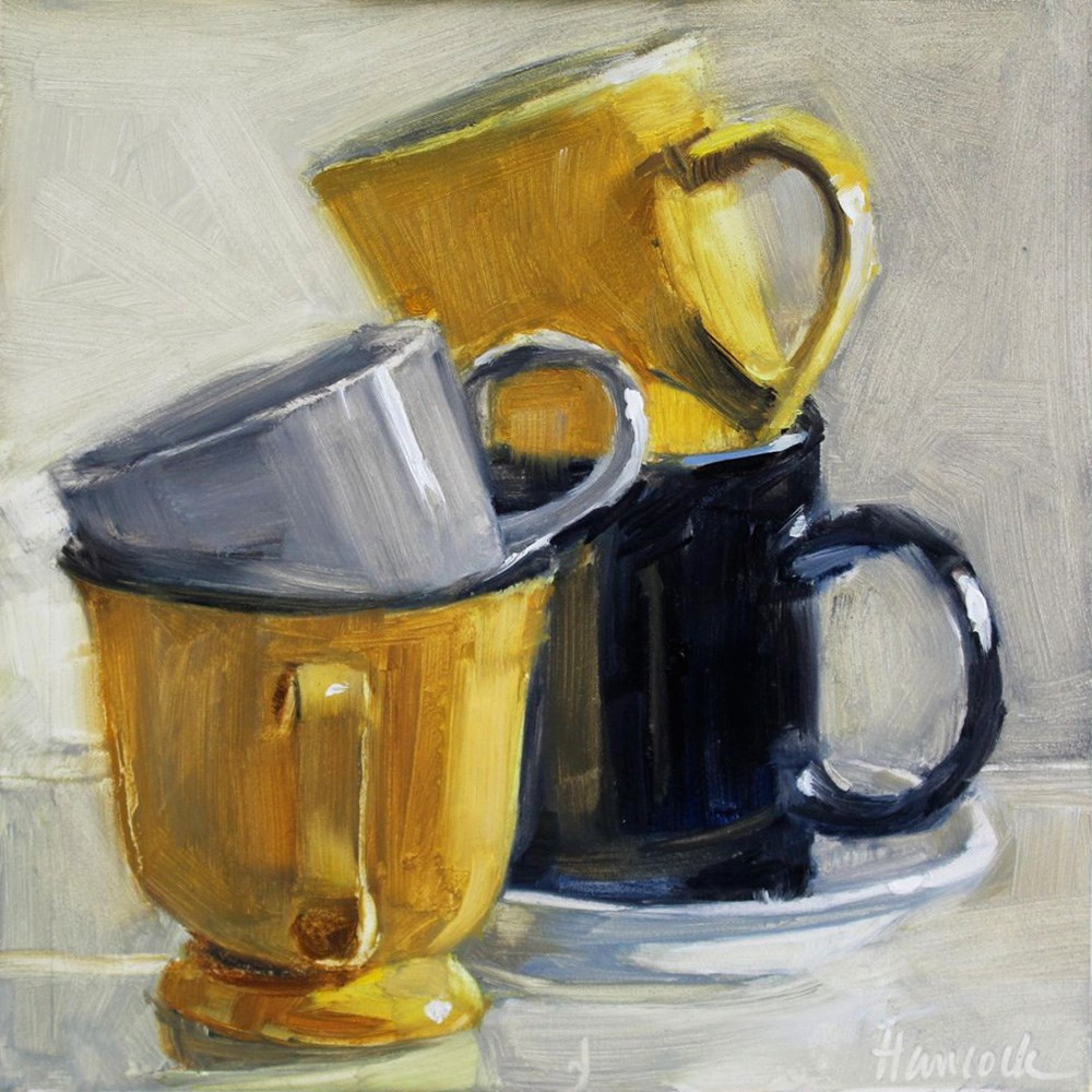 """Cup Stack with Two Yellow Cups"" original fine art by Gretchen Hancock"
