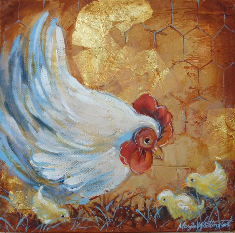 Hen and Chicks original fine art by Margie Whittington