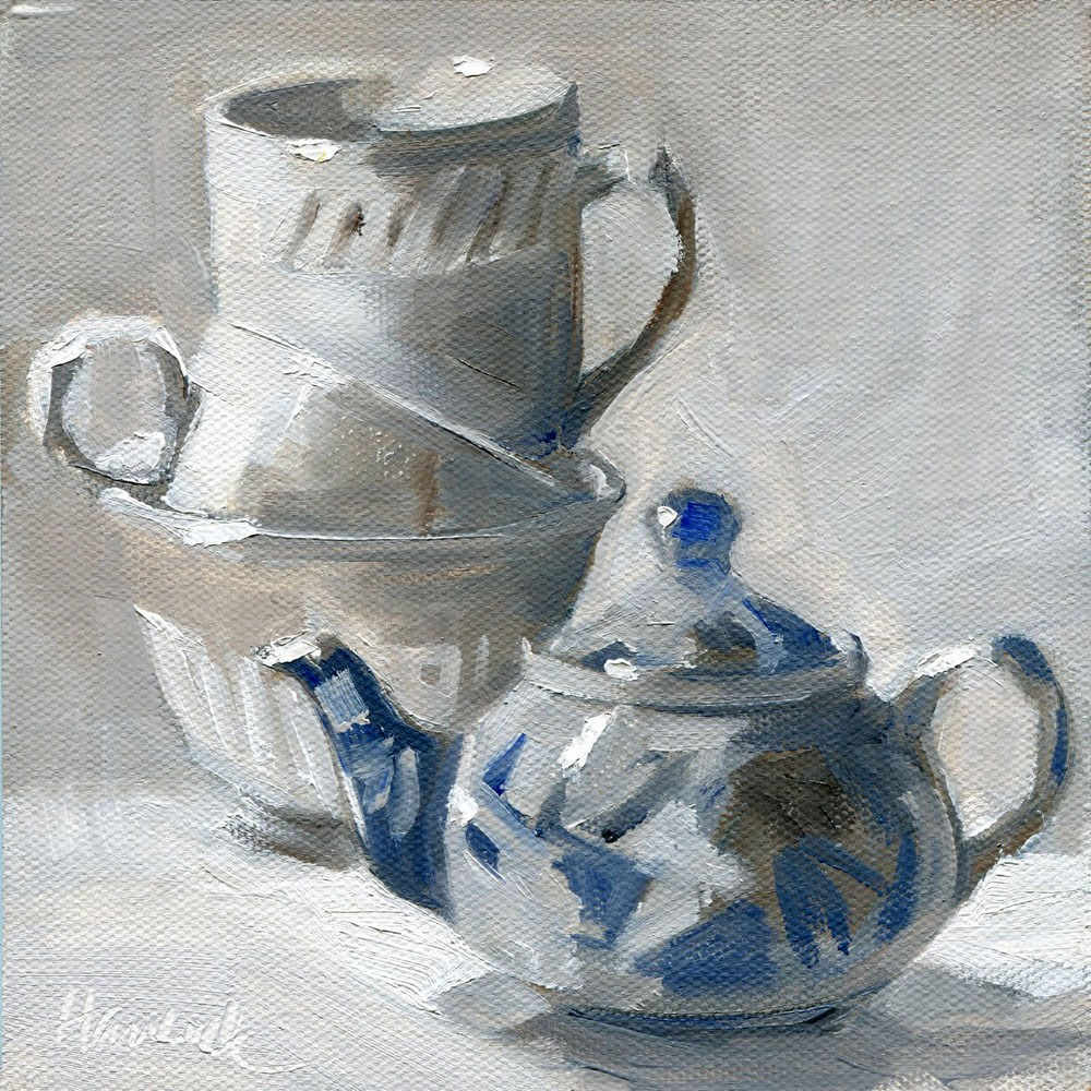 """Cups Blue Teapot"" original fine art by Gretchen Hancock"