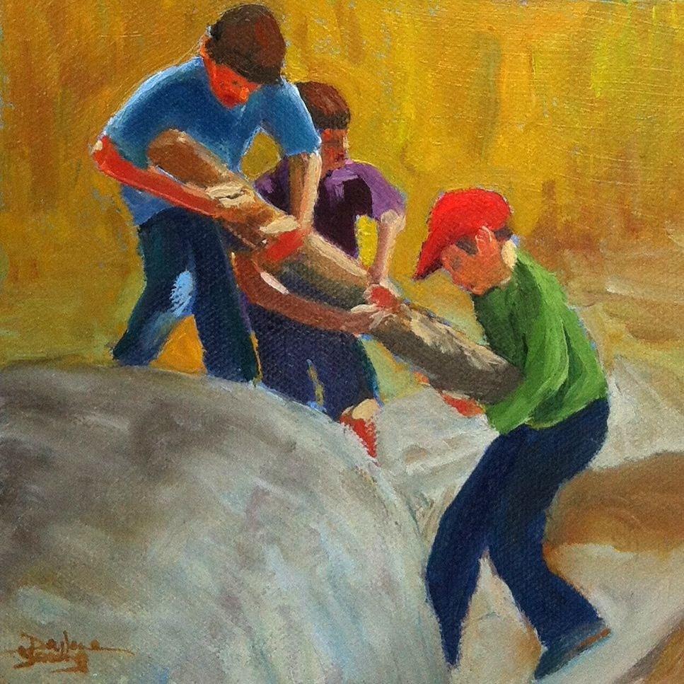 """535 Beach Combers"" original fine art by Darlene Young"