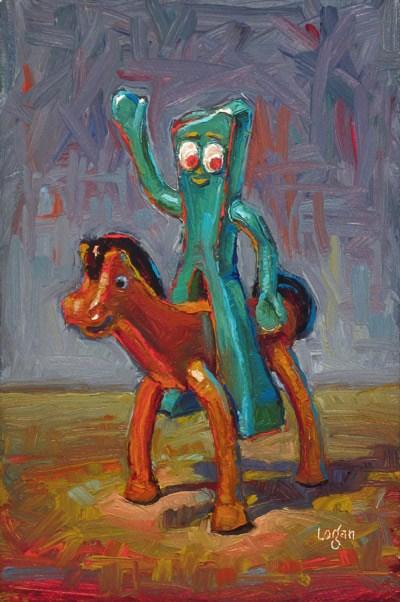 """Gumby Rides Pokey"" original fine art by Raymond Logan"