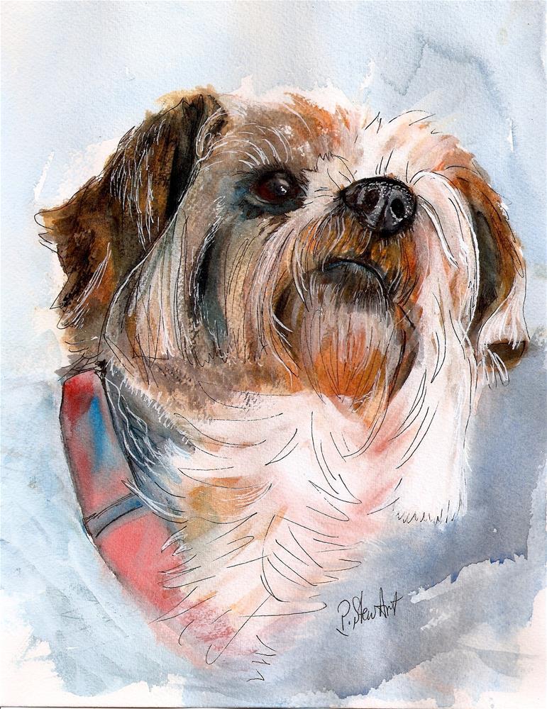 """Yorkshire Terrier Dog Pet Portrait Watercolor Painting 8.5 x 11 Penny StewArt"" original fine art by Penny Lee StewArt"