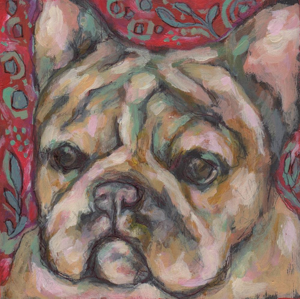 """Little frenchie"" original fine art by Kathy Hiserman"