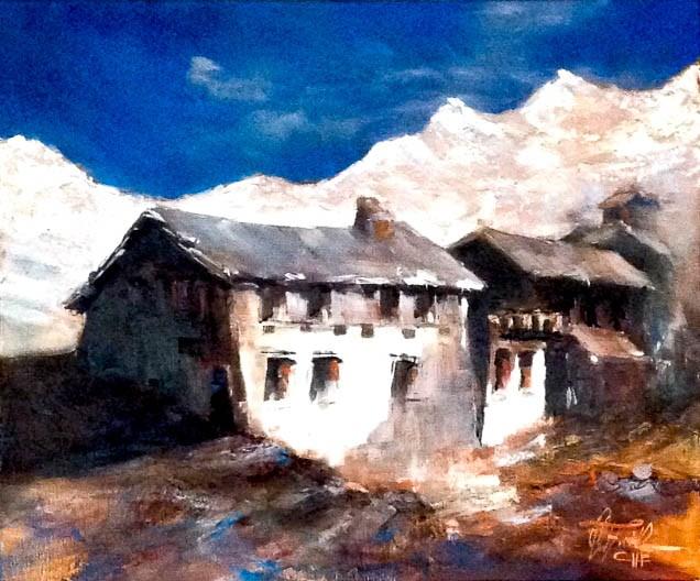 """Old farmstead in the Tyrolian Alps"" original fine art by Christa Friedl"