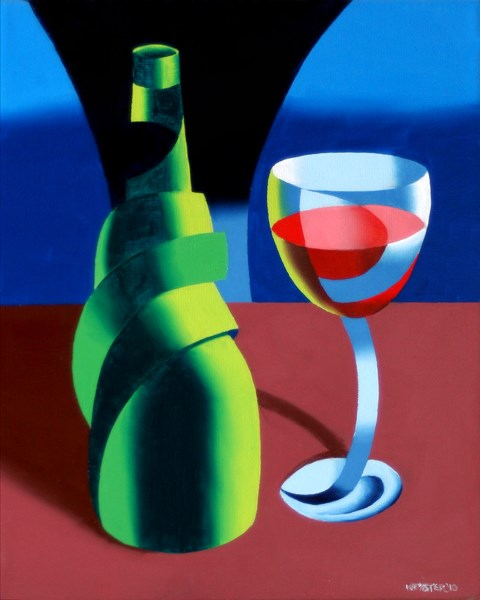 """Mark Adam Webster - Abstract Wine Bottle and Glass Still Life Oil Painting"" original fine art by Mark Webster"