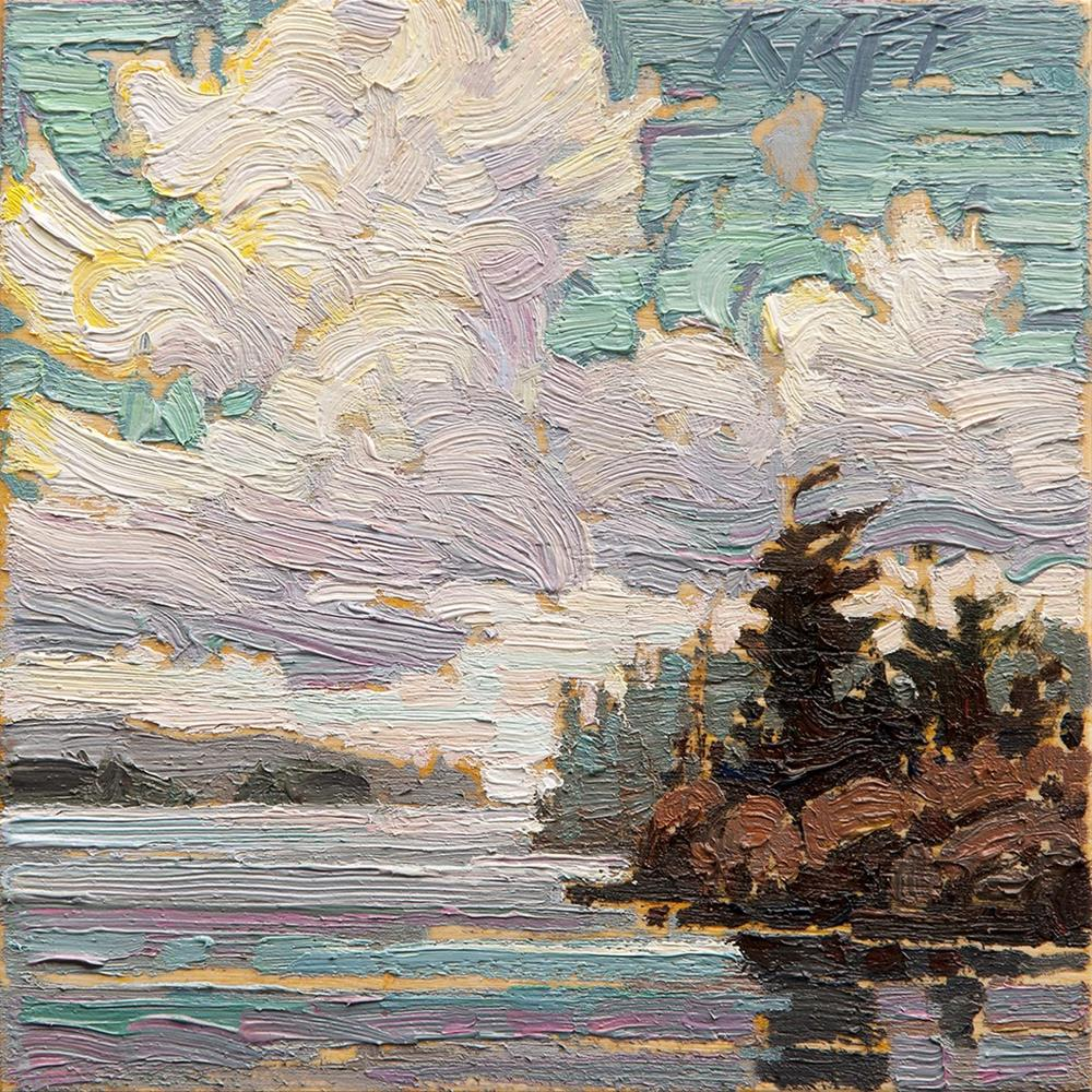 """Sunny Waterfront: 6x6 oil on panel"" original fine art by Ken Faulks"