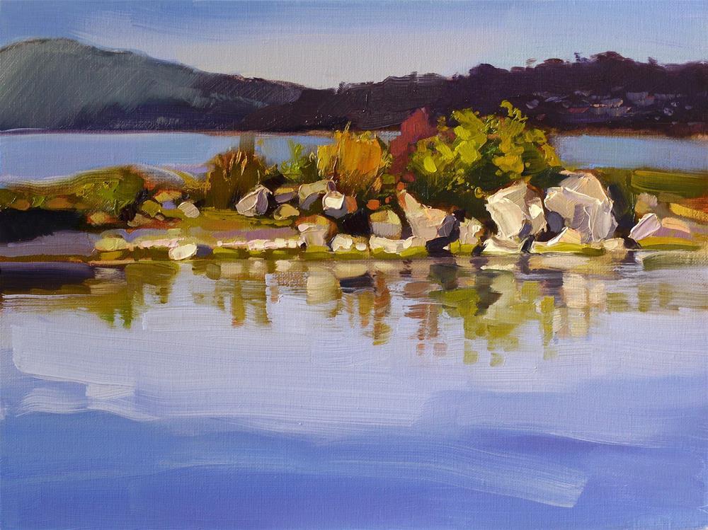 """stones - lac de bourget"" original fine art by Beata Musial-Tomaszewska"
