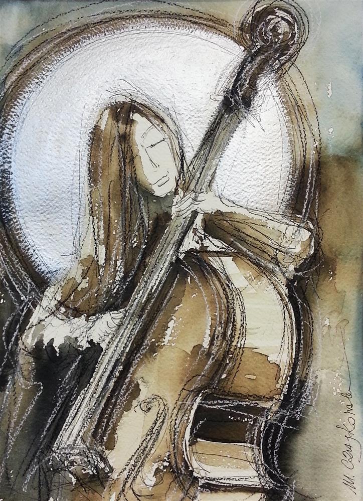 """Contrabassist angel"" original fine art by Marlena Czajkowska"