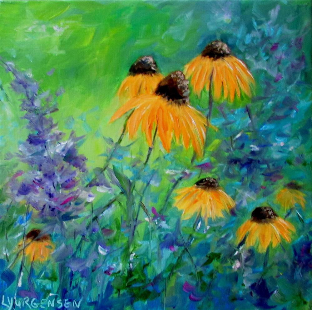"""12 x 12 inch oil Black Eyed Susans"" original fine art by Linda Yurgensen"