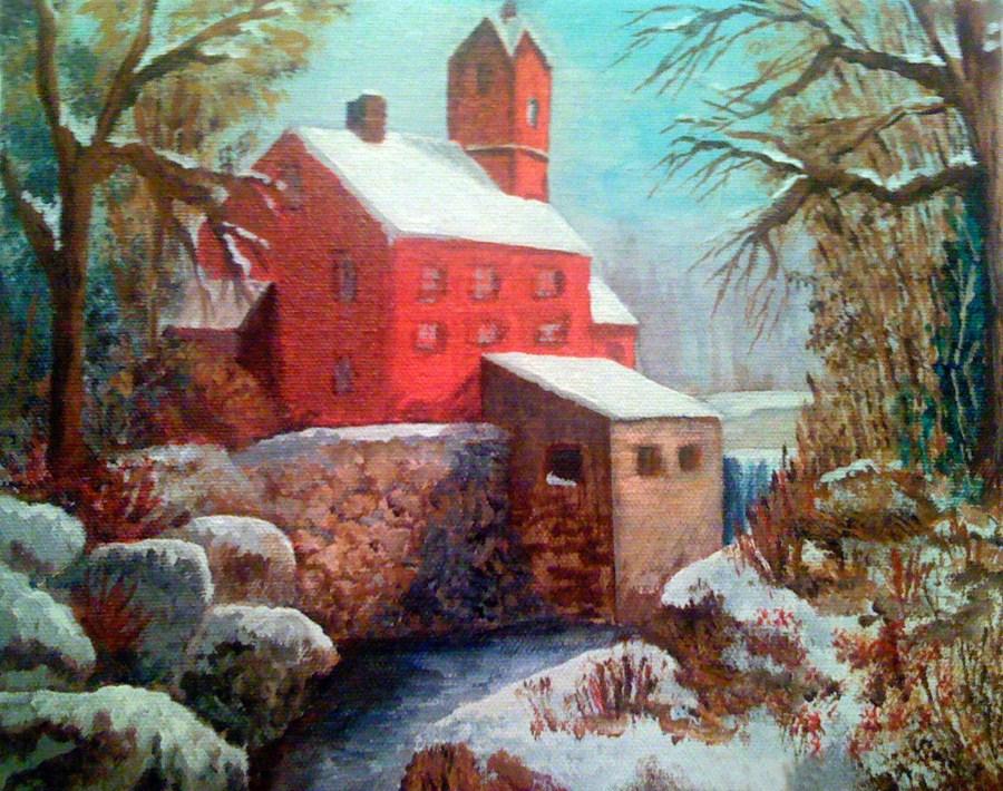 """""""Old Mill in Winter"""" original fine art by Nan Johnson"""