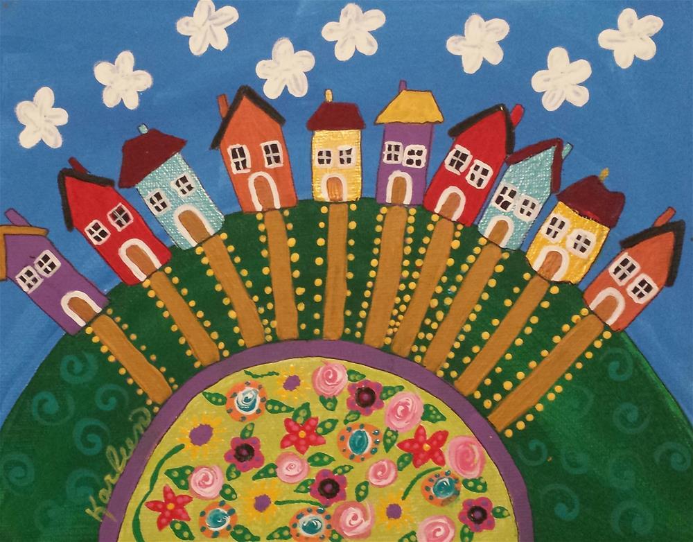 """""""Houses on the Hill"""" original fine art by Karleen Kareem"""