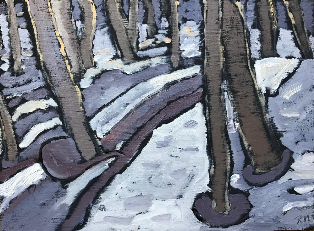 """Snow in the Woods"" original fine art by Rita Malenczyk"