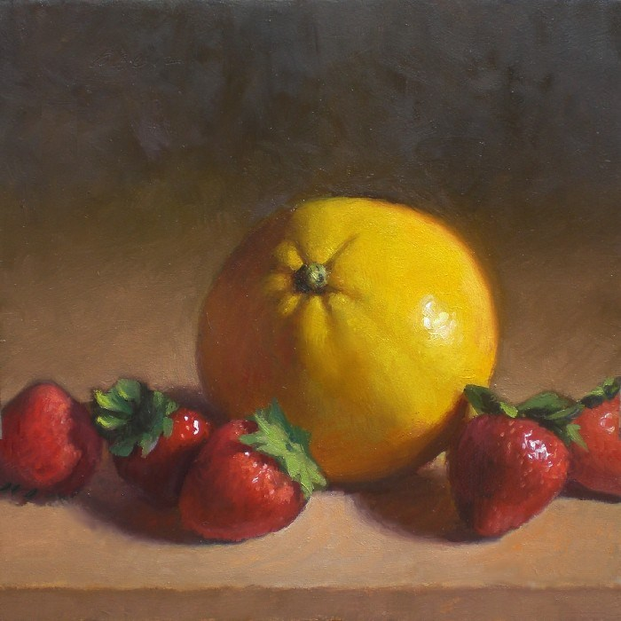 """Strawberries and Orange"" original fine art by Debra Becks Cooper"
