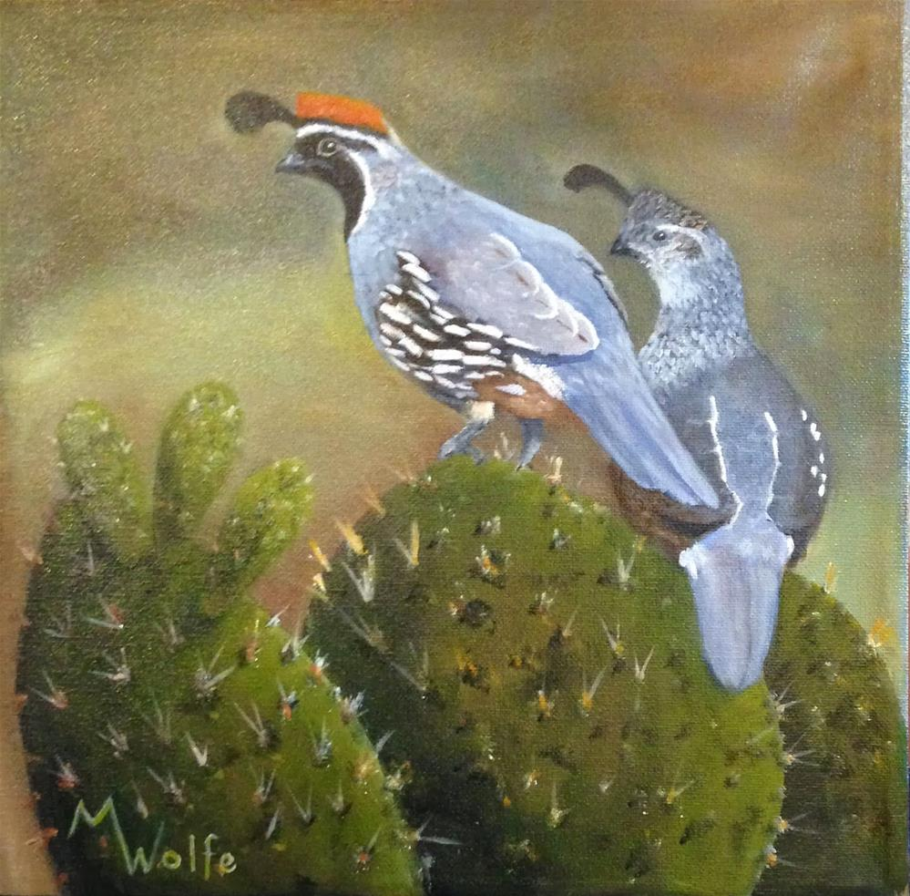 """Quail Couple on Cactus"" original fine art by Michelle Wolfe"