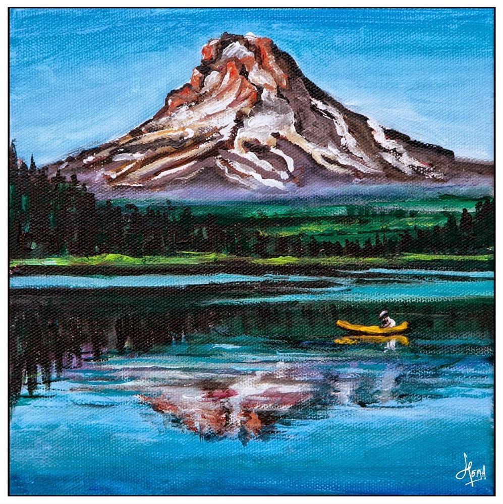 """""""Lone Kayak at Trillium lake"""" original fine art by Hema Sukumar"""
