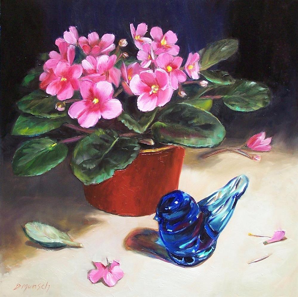 """""""Blue Bird of Happiness"""" original fine art by Donna Munsch"""