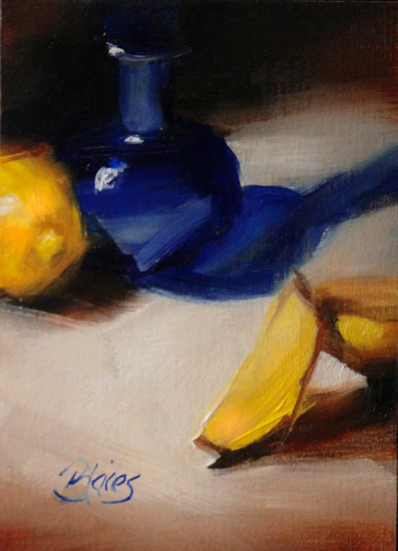 """Cobalt and Lemons"" original fine art by Pamela Blaies"