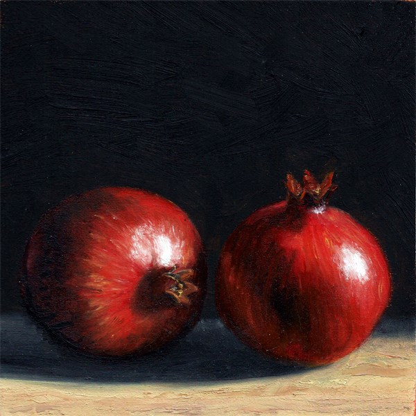 """Two Pomegranates"" original fine art by Peter J Sandford"