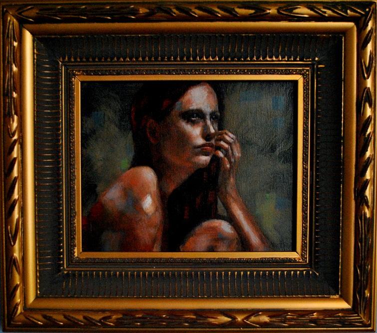 """October 8x10 oil on canvas in estate frame"" original fine art by David Larson Evans"