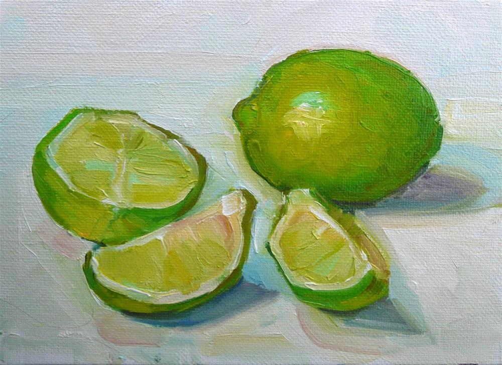 """More Limes,still life,oil on canvas,5x7,price$200"" original fine art by Joy Olney"