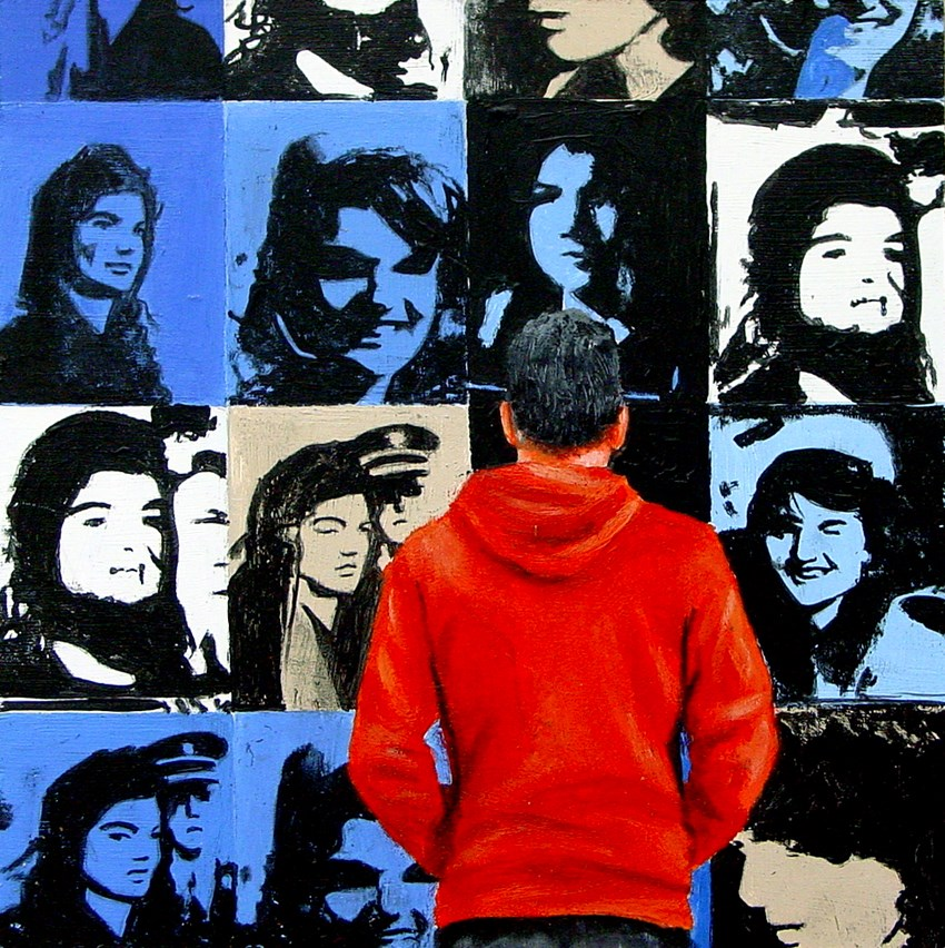 """Jackie- Painting Of Man Admiring Painting Of Jackie Kennedy By Andy Warhol"" original fine art by Gerard Boersma"