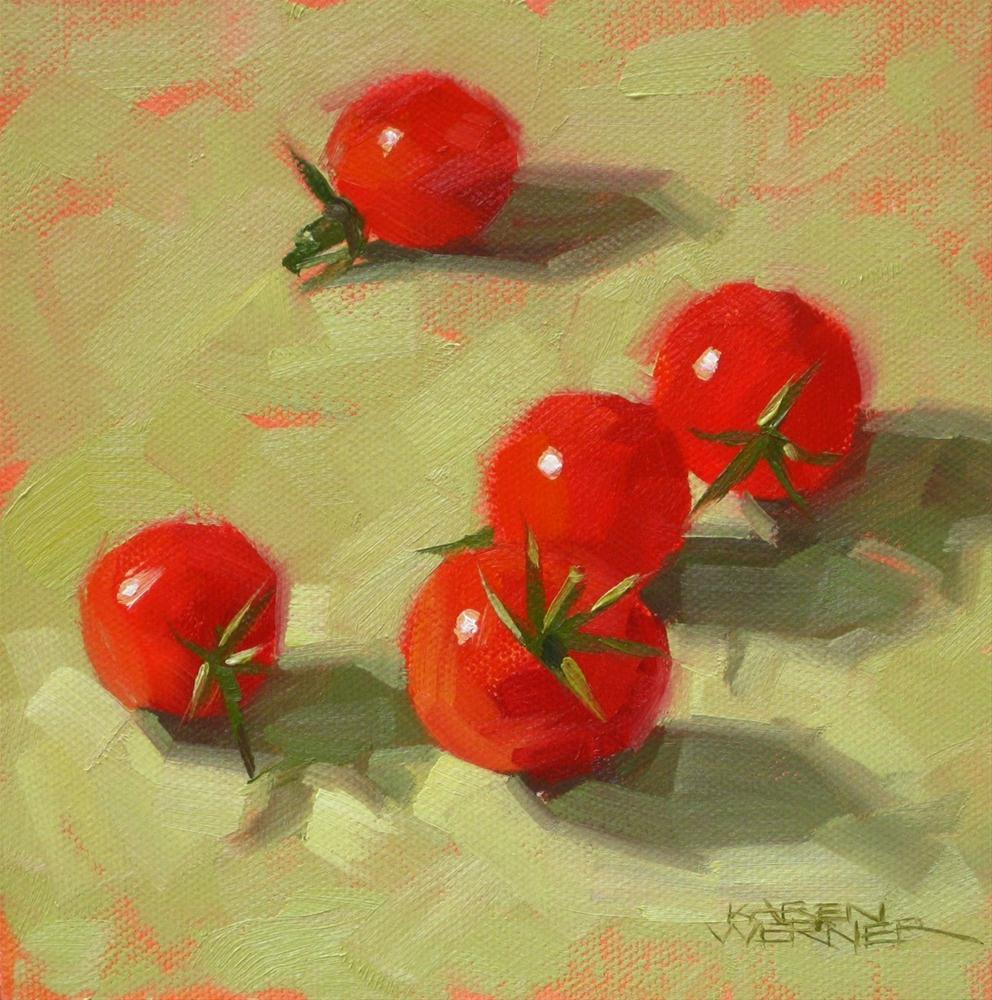 """""""Five Cherry Tomatoes"""" original fine art by Karen Werner"""