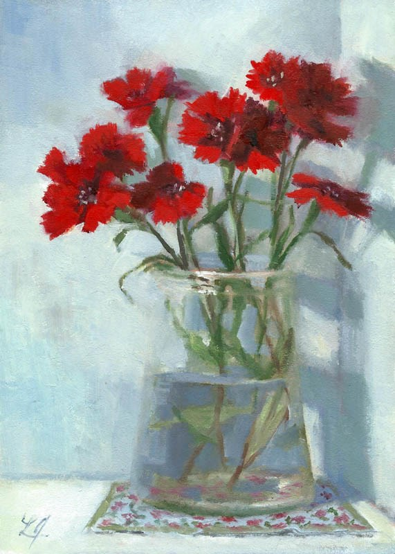 """Dianthus Glowing in Red"" original fine art by Linda Jacobus"
