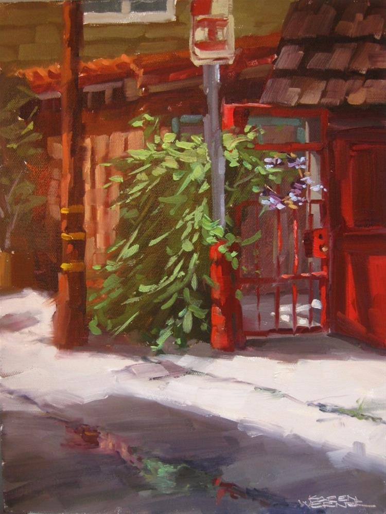 """Red Gate"" original fine art by Karen Werner"