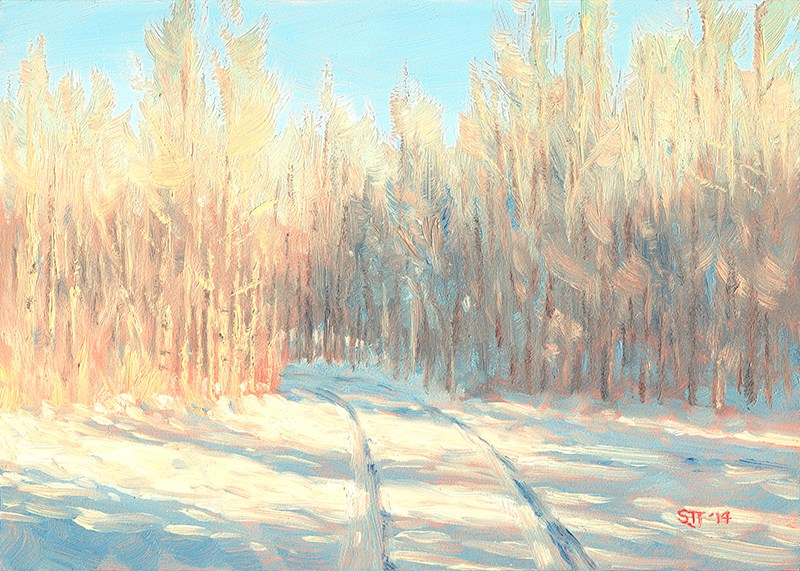 """C1580 Winter Aspens"" original fine art by Steven Thor Johanneson"