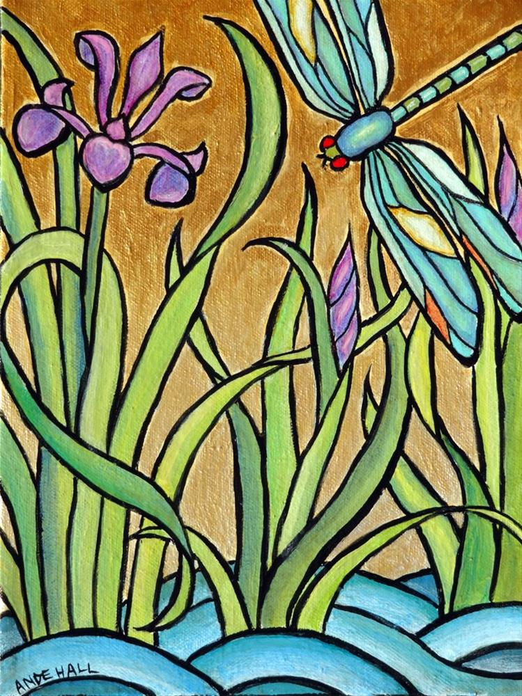 """Deco Dragonfly"" original fine art by Ande Hall"