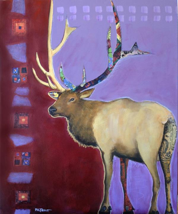 """Elk with a tramp stamp"" original fine art by Rhea  Groepper Pettit"