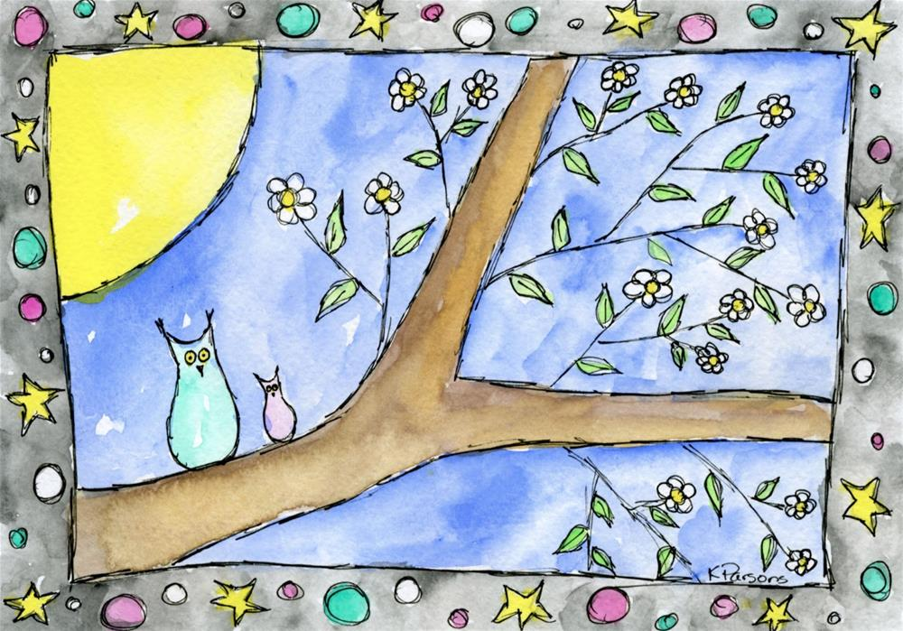 """Two Hoots and a Moon"" original fine art by Kali Parsons"