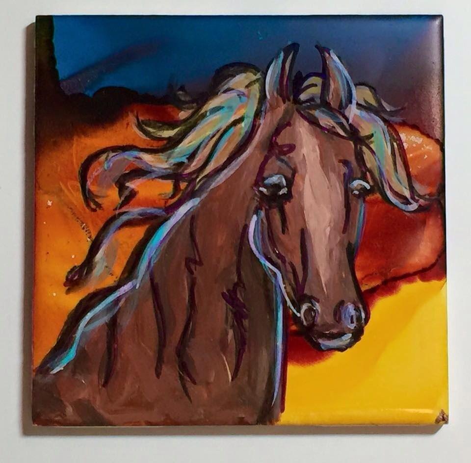 """Horse on tile"" original fine art by Barbara Beckmann"