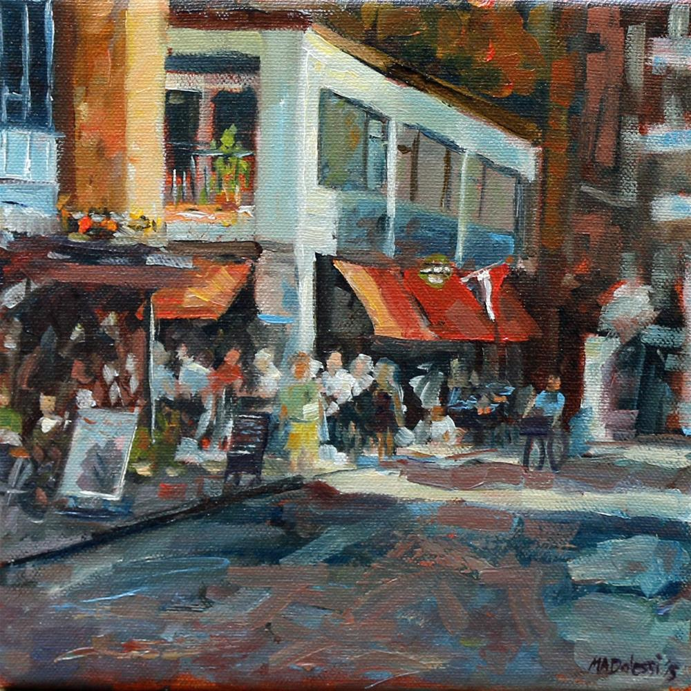 """Sun and drinks in Rotterdam"" original fine art by Miranda Dalessi"