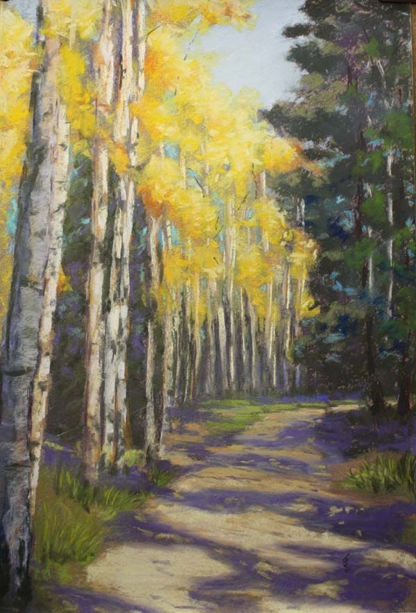 """Sunlit Fall Aspen"" original fine art by Jane Frederick"