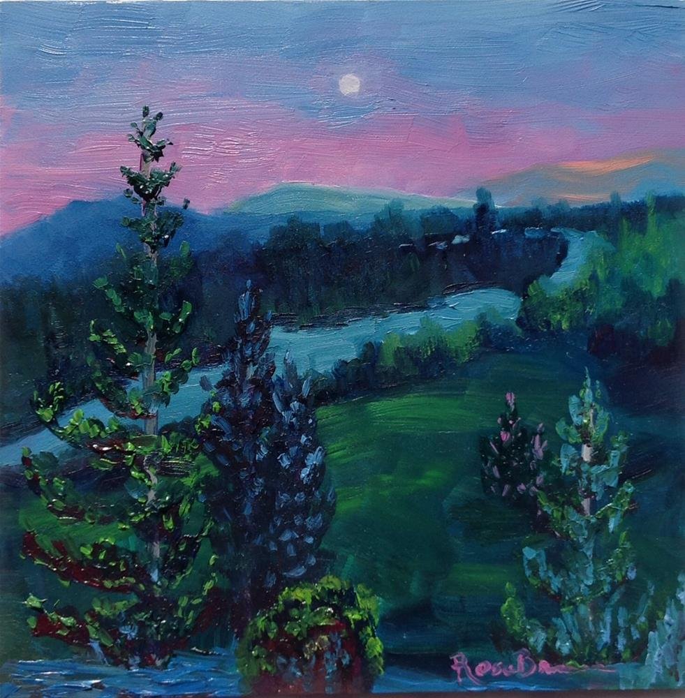 """The Pines At Night"" original fine art by Rose Brenner"