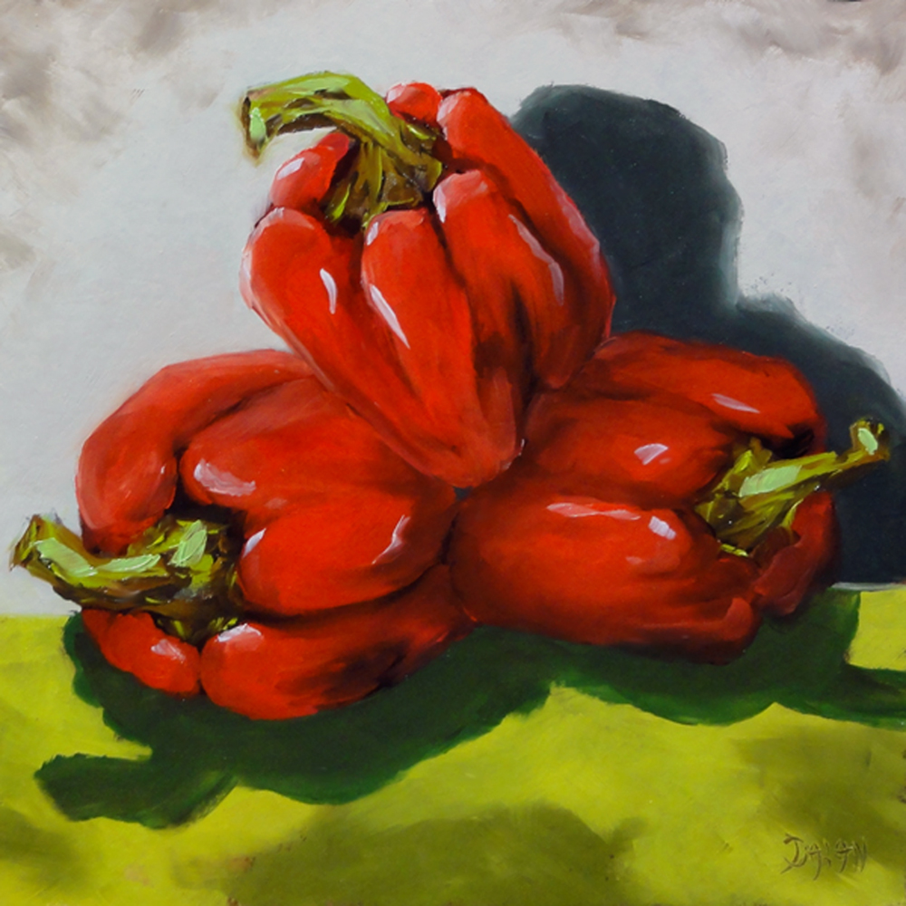 """Three Red Peppers"" original fine art by Dalan Wells"
