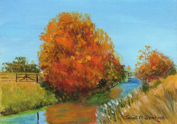 """Autumn Fields ACEO"" original fine art by Janet Graham"