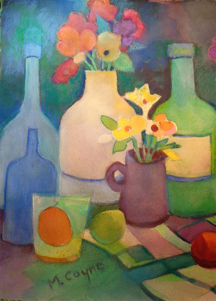 """""""bottles and fruit 2"""" original fine art by meribeth coyne"""