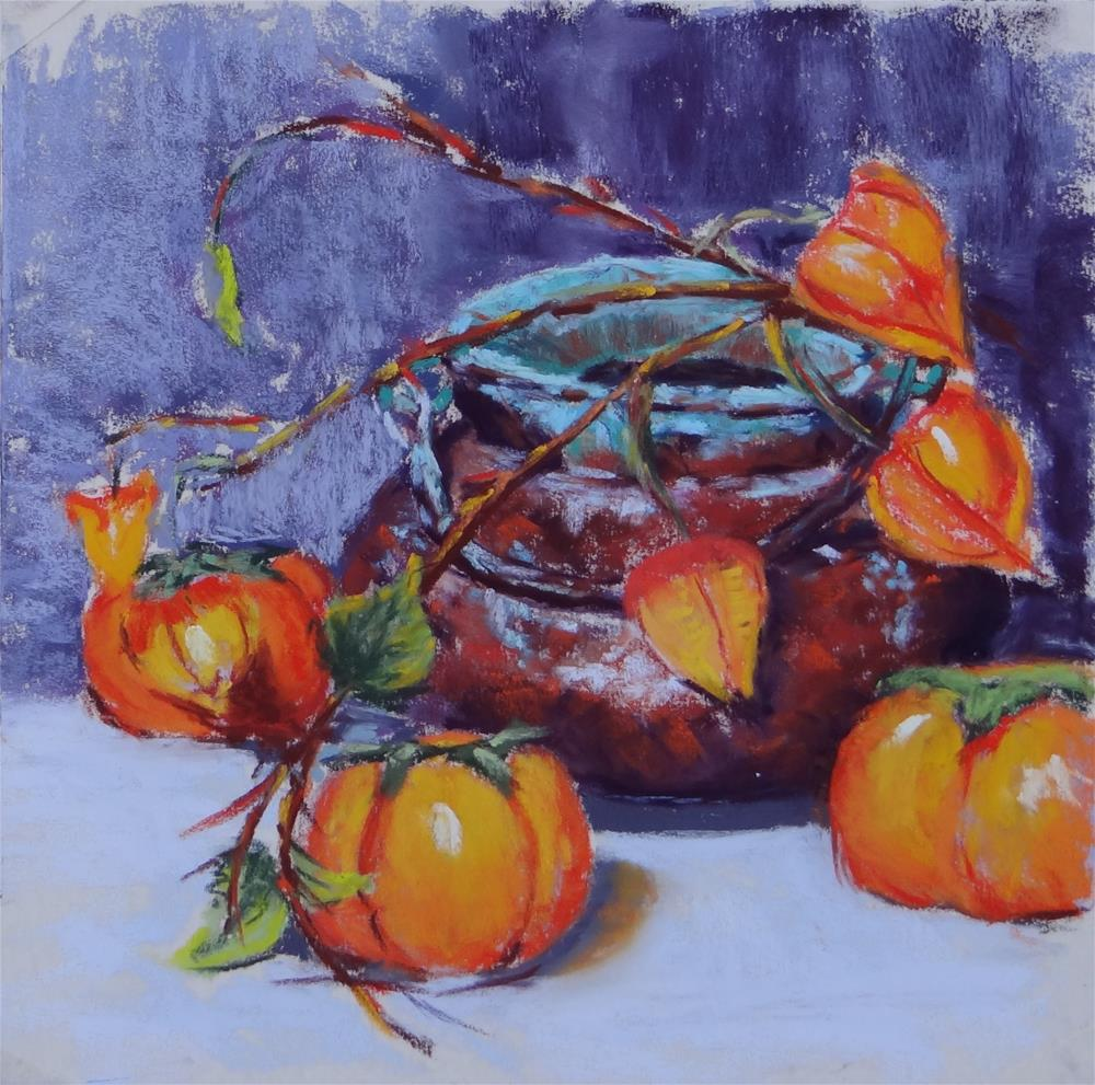 """Persimmons"" original fine art by Denise Beard"