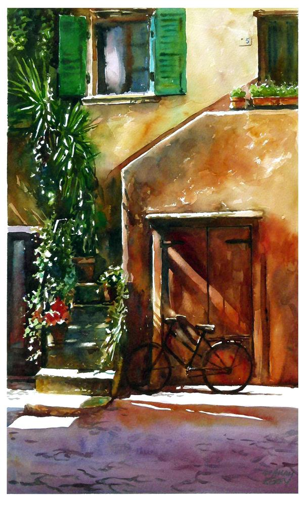 """Old bike"" original fine art by Graham Berry"