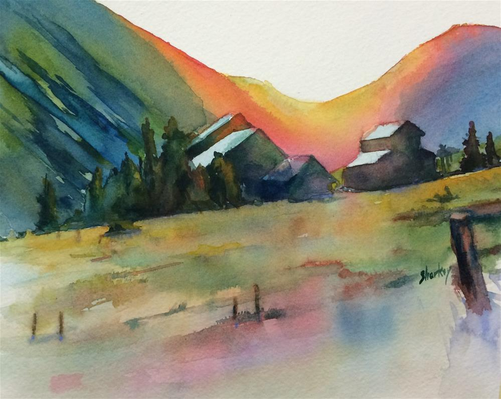 """Dusk over the Mountains"" original fine art by Ann Sharkey"