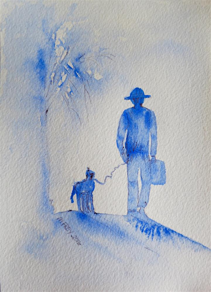 """Man And Dog 0109"" original fine art by Michelina Frey"