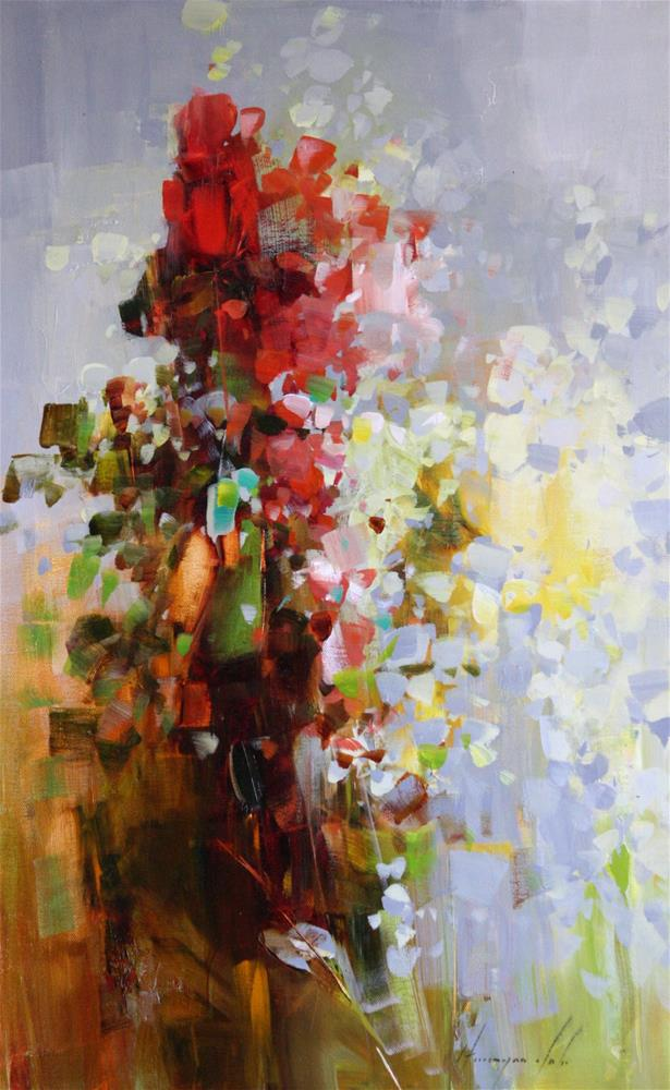 """FLOWERS ORIGINAL OIL PAINTING HANDMADE ART IMPRESSIONISM"" original fine art by V Yeremyan"