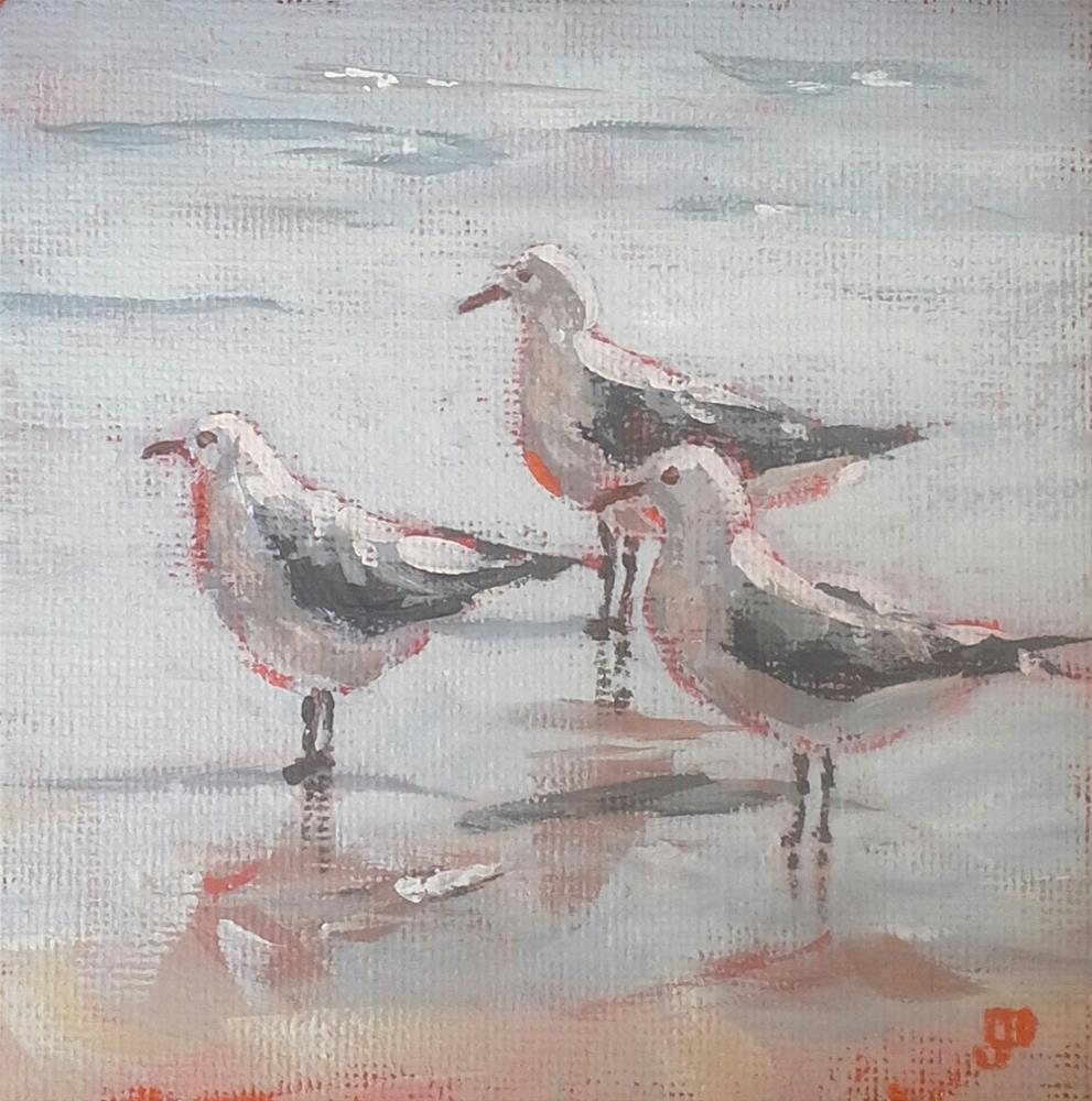 """Sea Gull Meeting"" original fine art by Leanne Owen"