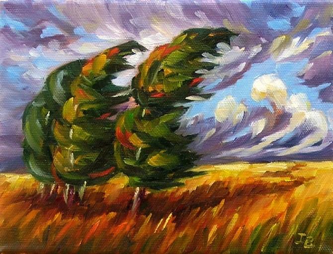 """Windy"" original fine art by Irina Beskina"