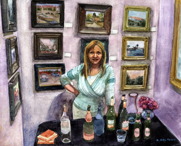 """Watercolor: Drinks at the Reception (& why you should attend Art Exhibits)"" original fine art by Belinda Del Pesco"