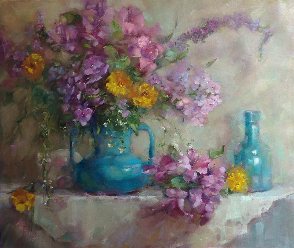 """Astromelia and Phlox"" original fine art by Barbara Schilling"